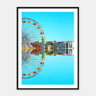 Miniaturka ferris wheel with buildings and blue sky Framed poster, Live Heroes