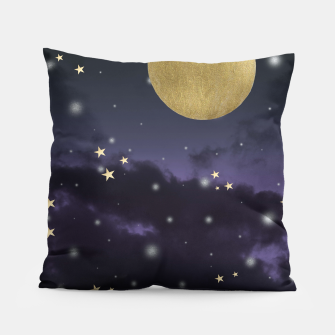 Thumbnail image of Cloudy Purple Midnight Blue Starry Night Sky #1 #decor #art  Kissen, Live Heroes