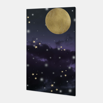 Thumbnail image of Cloudy Purple Midnight Blue Starry Night Sky #1 #decor #art  Canvas, Live Heroes