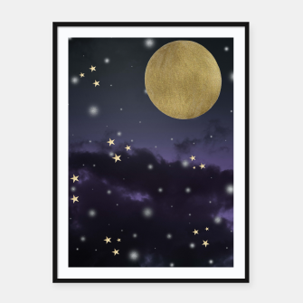 Thumbnail image of Cloudy Purple Midnight Blue Starry Night Sky #1 #decor #art  Plakat mit rahmen, Live Heroes