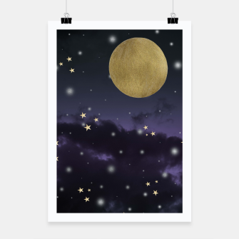 Thumbnail image of Cloudy Purple Midnight Blue Starry Night Sky #1 #decor #art  Plakat, Live Heroes