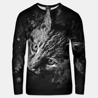 Thumbnail image of gxp scary lurking cat from right splatter watercolor black white Unisex sweater, Live Heroes