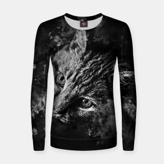 Thumbnail image of gxp scary lurking cat from right splatter watercolor black white Women sweater, Live Heroes