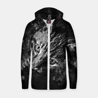 Thumbnail image of gxp scary lurking cat from right splatter watercolor black white Zip up hoodie, Live Heroes