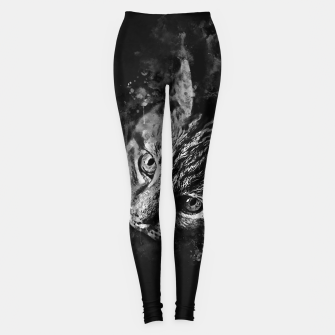 Thumbnail image of gxp scary lurking cat from right splatter watercolor black white Leggings, Live Heroes