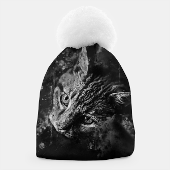 Thumbnail image of gxp scary lurking cat from right splatter watercolor black white Beanie, Live Heroes