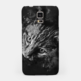 Miniaturka gxp scary lurking cat from right splatter watercolor black white Samsung Case, Live Heroes