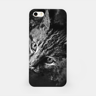 Miniaturka gxp scary lurking cat from right splatter watercolor black white iPhone Case, Live Heroes