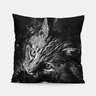 Miniatur gxp scary lurking cat from right splatter watercolor black white Pillow, Live Heroes
