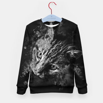 Miniatur gxp scary lurking cat from right splatter watercolor black white Kid's sweater, Live Heroes