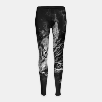 Miniatur gxp scary lurking cat from right splatter watercolor black white Girl's leggings, Live Heroes