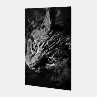 Miniatur gxp scary lurking cat from right splatter watercolor black white Canvas, Live Heroes