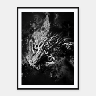 Miniatur gxp scary lurking cat from right splatter watercolor black white Framed poster, Live Heroes