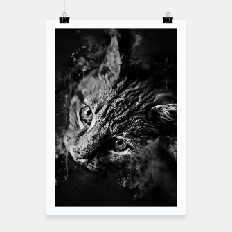 Miniatur gxp scary lurking cat from right splatter watercolor black white Poster, Live Heroes