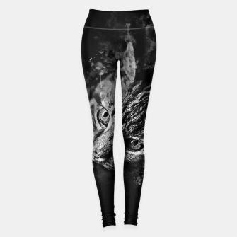 Miniatur gxp scary lurking cat from right splatter watercolor black white Leggings, Live Heroes