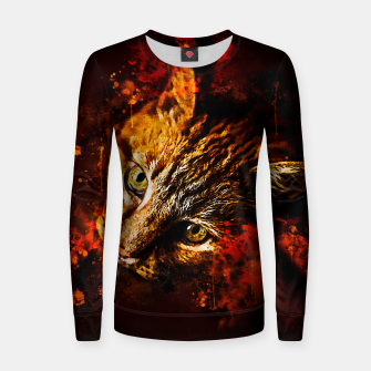 Miniatur gxp scary lurking cat from right splatter watercolor Women sweater, Live Heroes