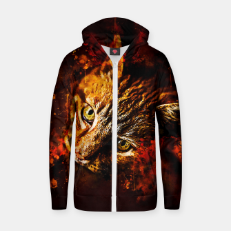 Miniaturka gxp scary lurking cat from right splatter watercolor Zip up hoodie, Live Heroes