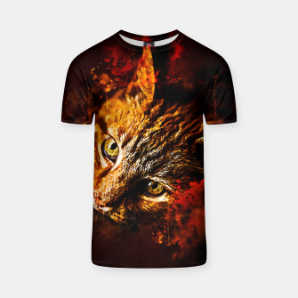 Thumbnail image of gxp scary lurking cat from right splatter watercolor T-shirt, Live Heroes