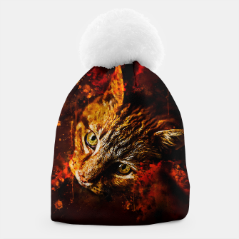 Miniaturka gxp scary lurking cat from right splatter watercolor Beanie, Live Heroes