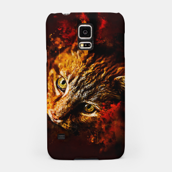 Miniaturka gxp scary lurking cat from right splatter watercolor Samsung Case, Live Heroes