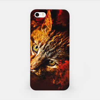 Miniaturka gxp scary lurking cat from right splatter watercolor iPhone Case, Live Heroes