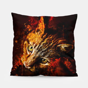 Miniaturka gxp scary lurking cat from right splatter watercolor Pillow, Live Heroes
