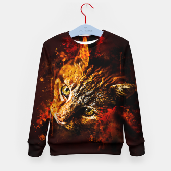 Miniaturka gxp scary lurking cat from right splatter watercolor Kid's sweater, Live Heroes