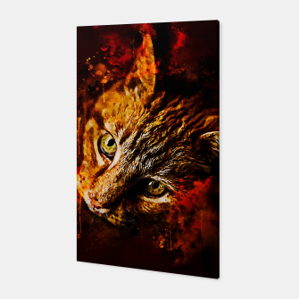 Miniaturka gxp scary lurking cat from right splatter watercolor Canvas, Live Heroes