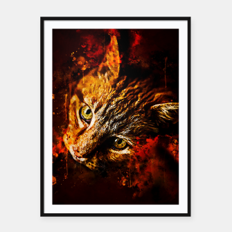 Miniaturka gxp scary lurking cat from right splatter watercolor Framed poster, Live Heroes