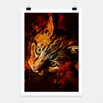 Miniaturka gxp scary lurking cat from right splatter watercolor Poster, Live Heroes