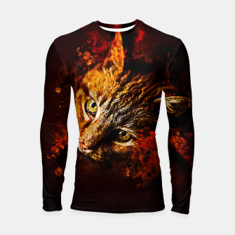 Thumbnail image of gxp scary lurking cat from right splatter watercolor Longsleeve rashguard , Live Heroes