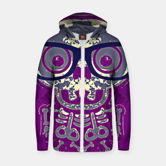 Thumbnail image of black skull with glasses and purple background Zip up hoodie, Live Heroes