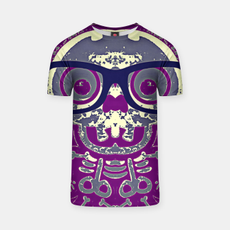 Thumbnail image of black skull with glasses and purple background T-shirt, Live Heroes