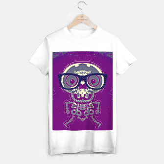 Thumbnail image of black skull with glasses and purple background T-shirt regular, Live Heroes