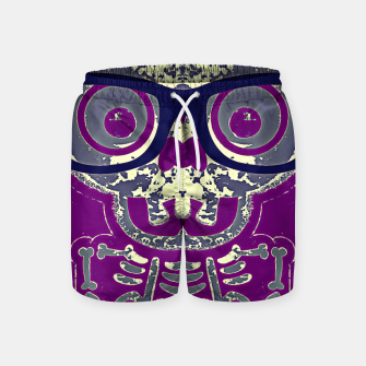 Thumbnail image of black skull with glasses and purple background Swim Shorts, Live Heroes