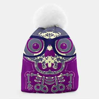 Thumbnail image of black skull with glasses and purple background Beanie, Live Heroes