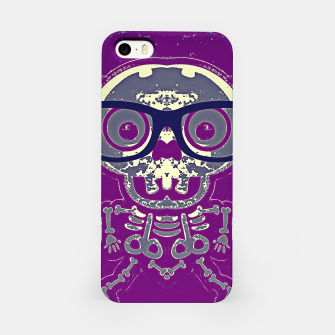 Thumbnail image of black skull with glasses and purple background iPhone Case, Live Heroes