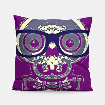 Thumbnail image of black skull with glasses and purple background Pillow, Live Heroes