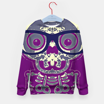 Thumbnail image of black skull with glasses and purple background Kid's sweater, Live Heroes