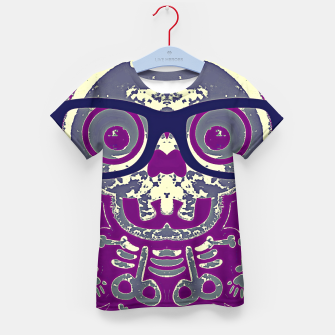 Thumbnail image of black skull with glasses and purple background Kid's t-shirt, Live Heroes