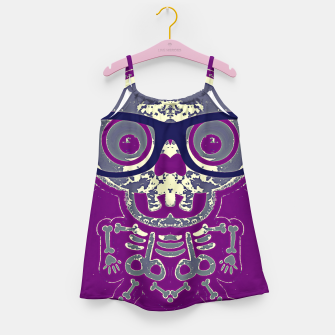 Thumbnail image of black skull with glasses and purple background Girl's dress, Live Heroes