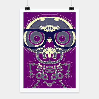 Thumbnail image of black skull with glasses and purple background Poster, Live Heroes