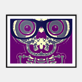 Thumbnail image of black skull with glasses and purple background Framed poster, Live Heroes