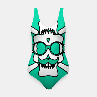 Miniature de image de white skull with glasses and mustache and green background Swimsuit, Live Heroes