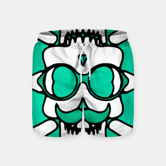 Miniature de image de white skull with glasses and mustache and green background Swim Shorts, Live Heroes