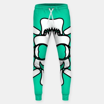 Miniature de image de white skull with glasses and mustache and green background Sweatpants, Live Heroes