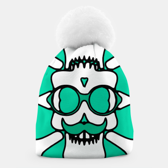Miniature de image de white skull with glasses and mustache and green background Beanie, Live Heroes