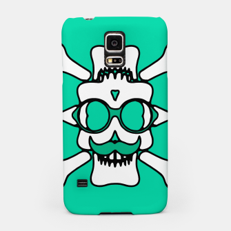 Miniature de image de white skull with glasses and mustache and green background Samsung Case, Live Heroes