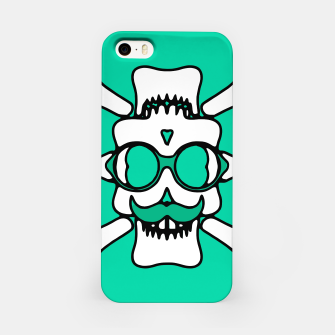 Miniature de image de white skull with glasses and mustache and green background iPhone Case, Live Heroes