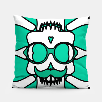 Miniature de image de white skull with glasses and mustache and green background Pillow, Live Heroes